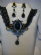 Alchemy Gothic pendant necklace and earring set in pewter She walks in Beauty